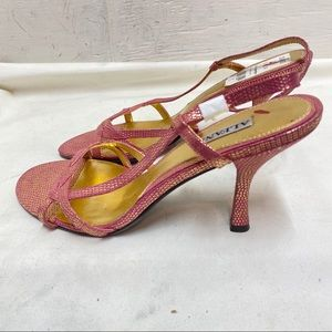 NWT Alfani Pink Leather Heeled Sandals Size